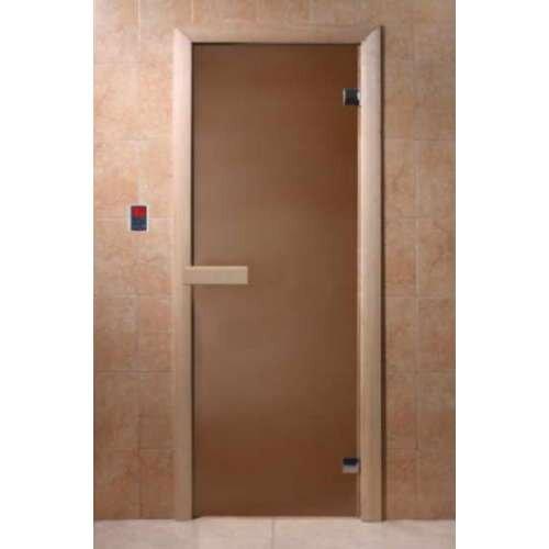 Дверь DoorWood Бронза матовая  круглая ручка с защелкой  190х70, 6мм 2 петли