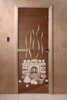 "Дверь DoorWood Art ""Банька"" (бронза) 190х70 6мм круглая ручка с защелкой"