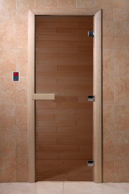 Дверь DoorWood Бронза  круглая ручка с защелкой  190х70, 6мм 2 петли
